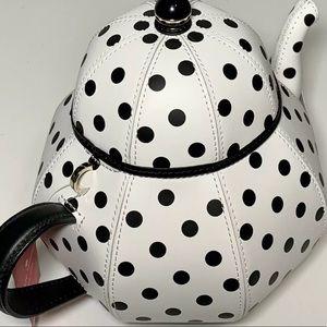 Kate spade Alice in wonderland teapot polka dot black white crossbody nwt